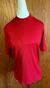 TAN-JAY-039-S-Women-039-s-Rib-Knit-Mock-Turtleneck-Short-Sleeve-Top-Size-Medium-EUC