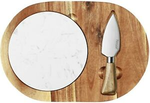 Hecef Oval Wooden Cheese Board Set, Acacia Wood Cheese Serving Board with White