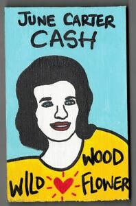 "June Carter Cash Mini Pop Folk Art on 5.5"" x 3.5"" x 0.75"" Wood Block"