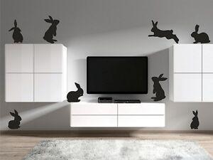 Rabbits Wall Stickers Removable Kids Nursery Art Vinyl Bunny Decor Set of 8