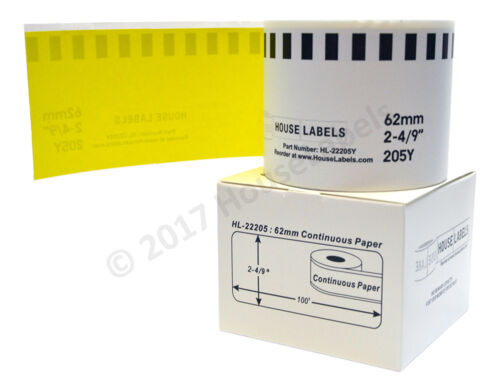 20 Brother Y DK-2205 YELLOW Replacement Rolls Compatible w// Brother 2 FRAMES
