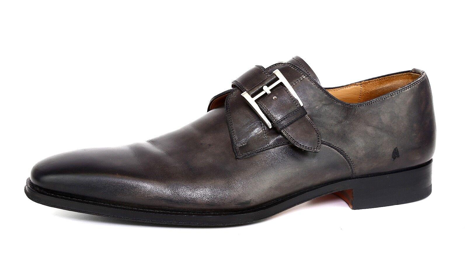 Magnanni Marco Monk Strap Pelle Loafer Dark Grey Sz 10 5007