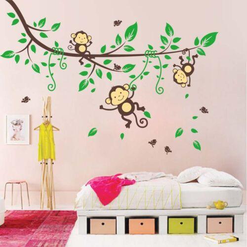 Cuarto De Niños Animales Verde árbol Mono desmontable de pared Calcomanías Calcamonía Mural Decoración