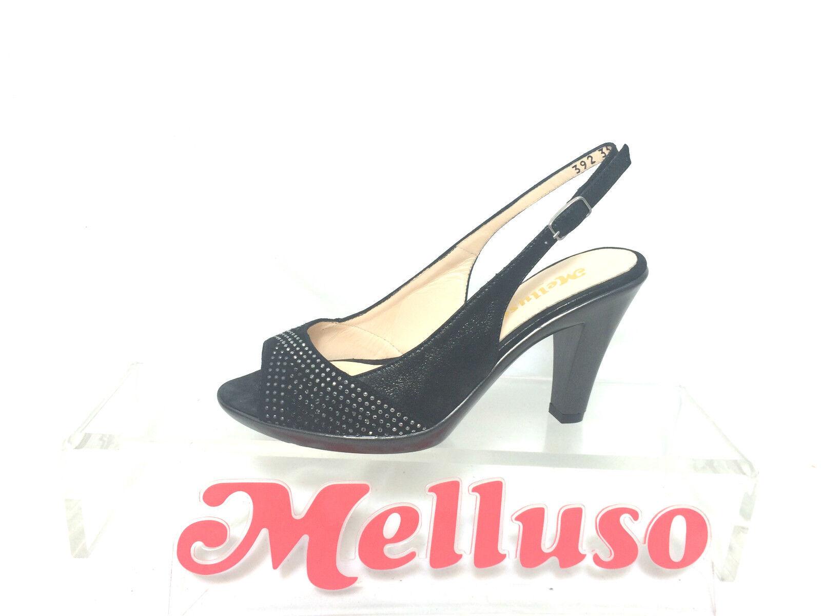 MELLUSO SANDALO DONNA NERO CON STRASS TACCO  H 8 CM MADE IN ITALY
