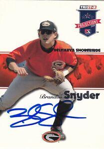 BRANDON SNYDER DELMARVA SHOREBIRDS SIGNED CARD ORIOLES BRAVES RED SOX RANGERS