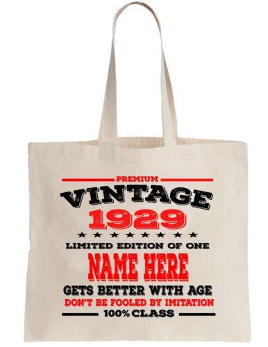 89th Birthday Gift Tote Bag Shopper Shopping Custom add Name of choice 1929