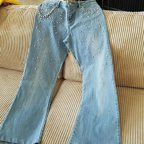 Light Blue 10 Faux Pearls amp; Lovely 189 Jeans Msrp S Chain Rhinestone Cache PvxwU