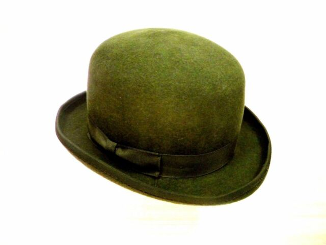 New 100% Wool Original Derby English Bowler Hard Top Events Hat Olive Green 1a90aad7e30