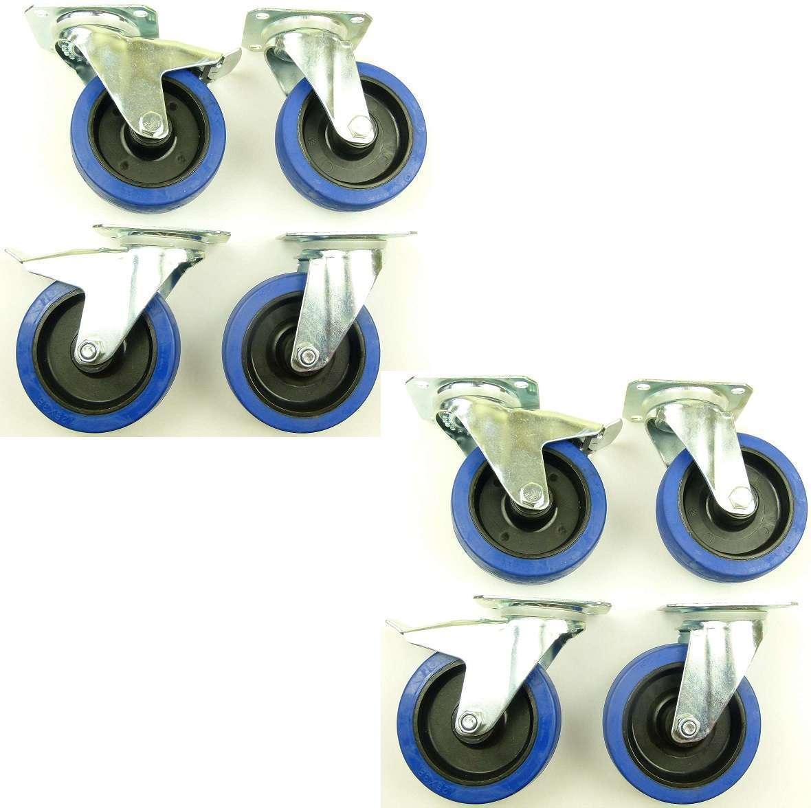 2 Set 125 mm SL Rollen BREMSE Transportrollen Lenkrollen Blau Wheels Schwerlast