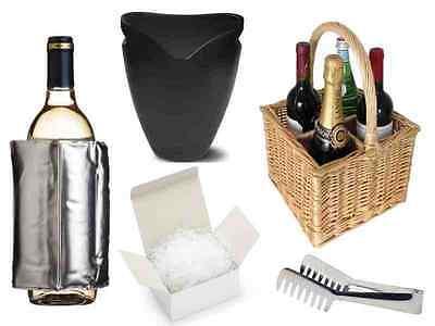 WINE BOTTLE ICE BUCKET / COOLER / HAMPER BASKET / TONGS / SHOT GLASSES / STRAWS