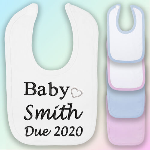 Baby Due Unisex Embroidered Baby Bib Gift Personalised New Arrival