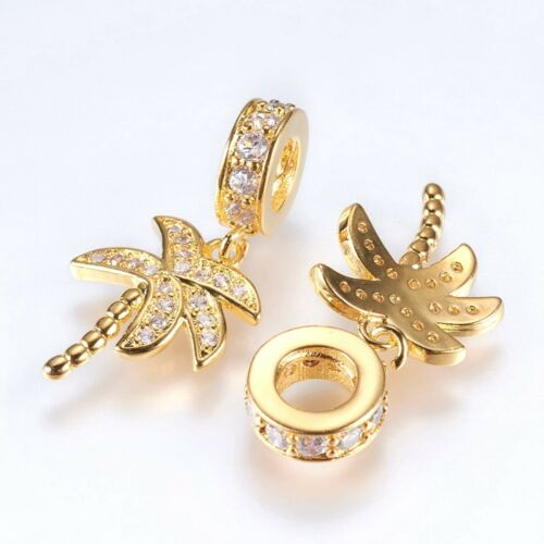 Gold Palm Tree Charms Cubic Zirconia Palm Tree Dangle Charms