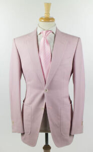 NWT-Tom-Ford-Pink-100-Cotton-Woven-2-Button-Suit-48-38-R