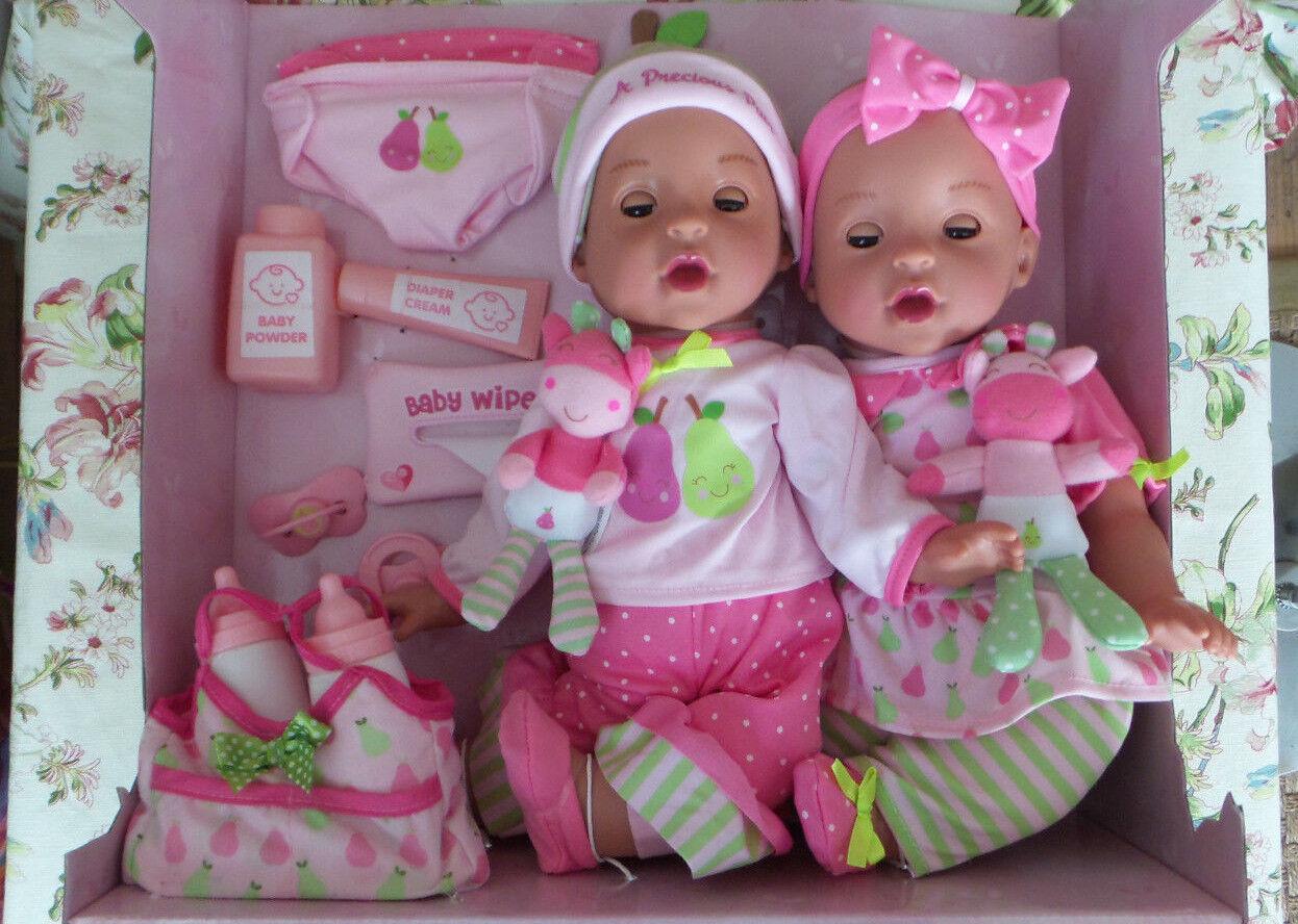 Twin Baby Dolls 22 Pc Set Reborn realistic 15  NIB eyes open close