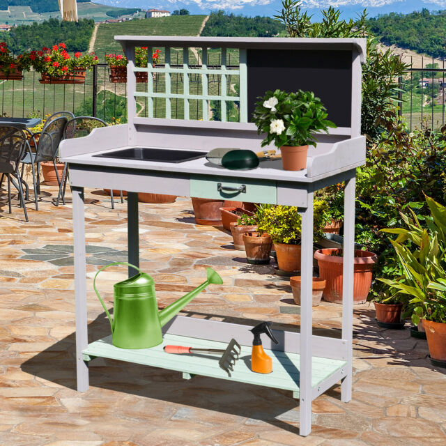 Awesome Homcom Outdoor Potting Table Bench Workstation Planting Wood Shelves Interior Design Ideas Grebswwsoteloinfo
