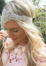 Silver Diamond Encrusted Vintage 1920s Tiara Bridal Hair Head Band Choochie Choo