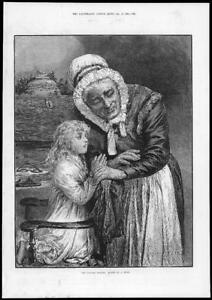 1884-FINE-ART-Antique-Print-Morning-Prayer-Hunt-Old-Lady-Child-Chair-206