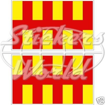 Bumper STICKER Decal NORTHUMBERLAND Flag x2 England