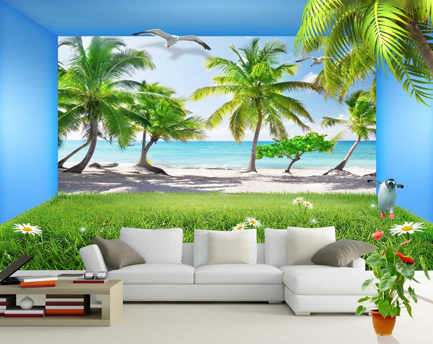 3d Coconut Tree-Lawn 842 Wallpaper Mural Wallpaper Wallpaper Picture Family De