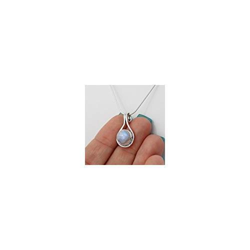 Round Moonstone Pendant Necklace 925 Sterling Silver 8mm Gemstone Snake Chain