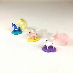 Cutie-Club-Ponies-Horses-With-Stands-1989-Lot-of-3-Galoob-Blue-Pink-White