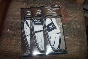 3 Brand New Mizuno Gripflex Paume En Cuir Homme Lh Cadet Medium Gants Blanc-afficher Le Titre D'origine