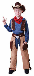 Cowboy-Ninos-Kids-Ninos-Traje-Traje-Woody-Western-Fancy-Dress-edad-4-9