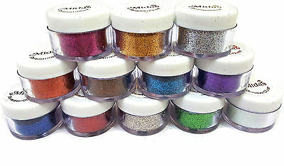 PROFESSIONAL 12 PCS BOX THICK BODY GLITTER POWDER SHIMMER DUST FOR BEAUTY QUEEN