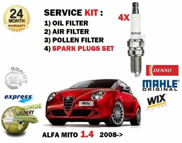 FOR ALFA ROMEO MITO 1.4 2008-> 4 SPARK PLUGS SET + OIL AIR POLLEN 3 FILTER KIT