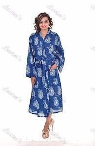 Image Is Loading Indian Cotton Women Kimono Floral Print Bathrobe Casual