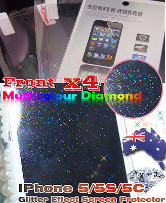 4 x iPhone 5 5S 5C Diamond Glitter Effect Screen Protector (Front ONLY!!)