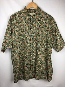 Tori-Richard-Honolulu-Mens-XL-Hawaiian-Shirt-Camp-Palm-Black-Orange-Aloha-EUC