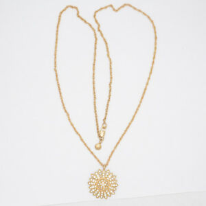 J-CREW-JEWELRY-MATTE-GOLD-PLATED-CUT-CRYSTALS-FLOWER-PENDANT-LONG-CHAIN-NECKLACE
