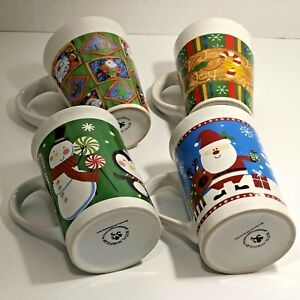 4-Cup-Vtg-Set-Of-Christmas-Holiday-Mugs-Royal-Norfolk-Joy-Santa-Snoman-Scenes