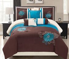 7 Quilted Diamond Square Patchwork Comforter Set Turquoise Blue Brown Beige King