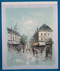 L-Basset-Untitled-Street-Scene-Painting-Acrylic-Oil-on-Canvas