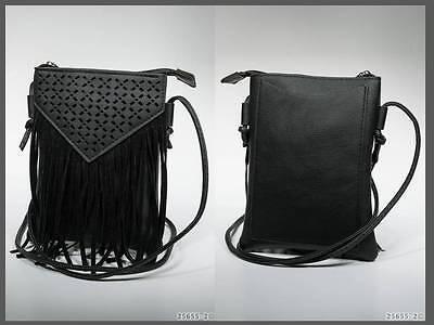 mini Handtasche Umhängetasche mit Fransen Lederimitat schwarz (1430)