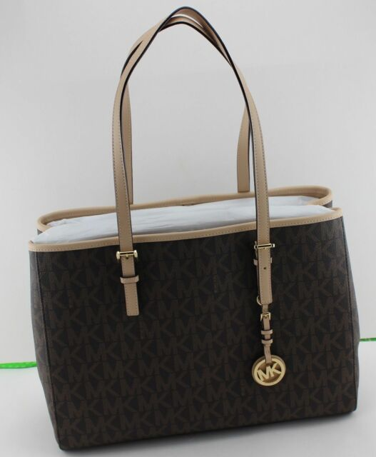 382ed91c8c80 NEW AUTHENTIC MICHAEL KORS BROWN JET SET TRAVEL LG EW TOTE SIGNATURE HANDBAG