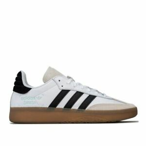 Hommes-Adidas-Originals-Samba-RM-Lacets-Dessus-En-Cuir-Baskets-en-Blanc
