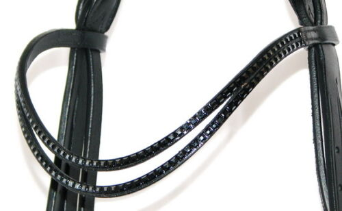 FSS GLEAM Double Curve U SHAPE Crystal JET BLACK SQUARE WAVE Bling Browband