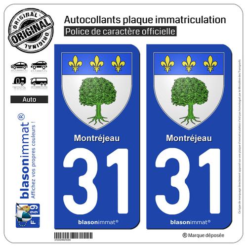 2 Blasonimmat Plaque D'immatriculation | 31 Montréjeau - Armoiries | 31210