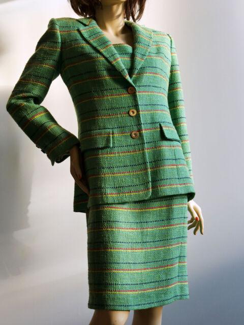 Ensemble Tailleur Robe Veste Claire En Lin Coton Vert 100 Doublees 42 Neuf Ebay