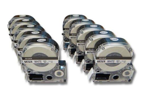 10x Schriftband 12mm SCHWARZ-weiss für EPSON LabelWorks LW-1000P