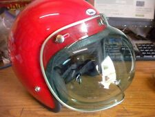 NOS Vintage 3 Snap Green Helmet Bubble Shield Visor w Silver Trim USA Bell Buco
