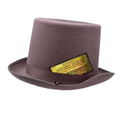 Adults Brown Wool Felt Top Hat Willy Wonka Fancy Dress Accessory Golden Ticket