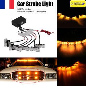 18-LED-Lumiere-Stroboscope-Strobe-Clignotant-Urgence-Jaune-Alerte-Voiture-Camion