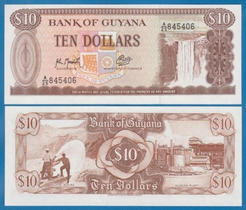 P-23f Combine FREE! Guyana 10 Dollars P 23 f Signature 9 UNC Low Shipping