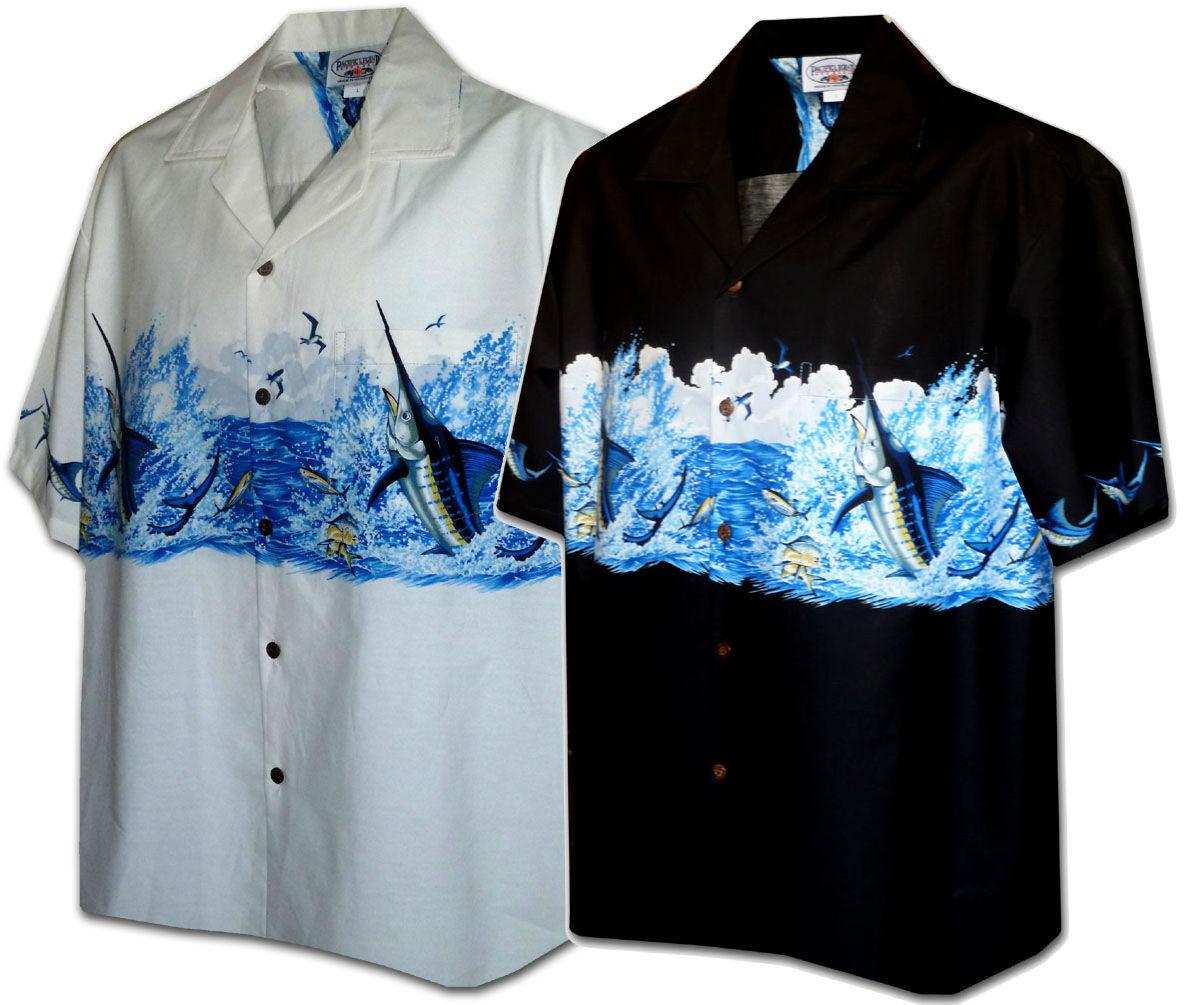 Fighting Marlin Hawaiian Aloha Shirt Pacific Legend Made in Hawaii 440-3747