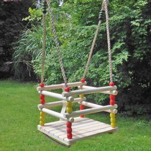 Babyschaukel-Kleinkindschaukel-Gitterschaukel-aus-Holz-verstellbare-Seile