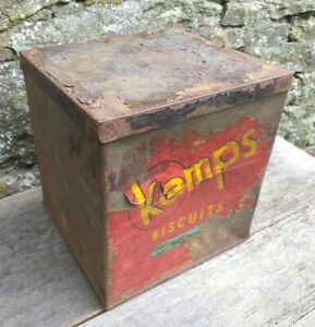 Collectable-Rare-c1950-039-s-Vintage-Scribbans-Kemps-Large-Biscuit-Tin